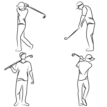 postures: golf player postures Illustration