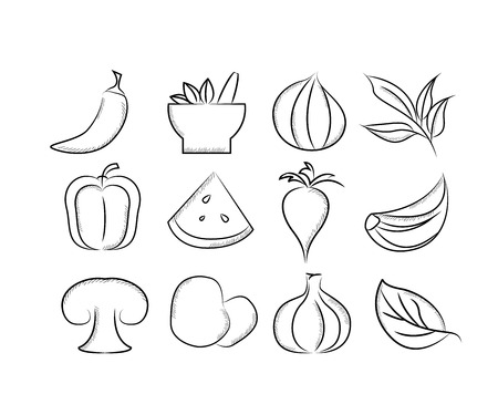 pimento: herbs and spices icons Illustration