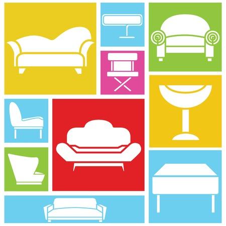 davenport: sofa icons Illustration