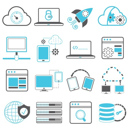 data processing: network technology icons