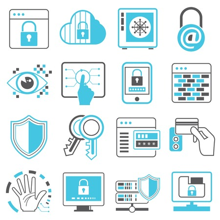 secure data: network security system icons
