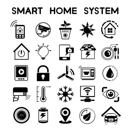 eficiencia: iconos de casas inteligentes