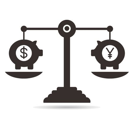 affluence: balance scale, money currency concept