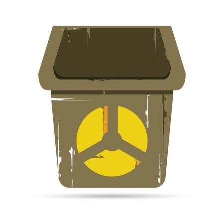 hazardous area sign: bin with radiation symbol
