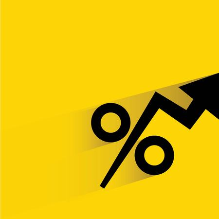 share prices: percentage, increasing chart Illustration