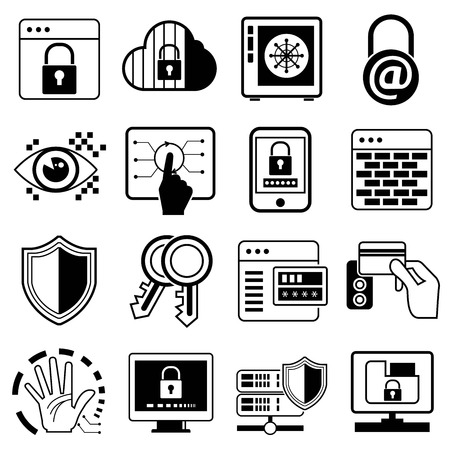 information technology icons: security system icons, information technology icons
