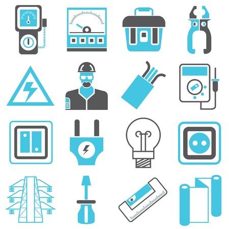 Iconos de ingeniería eléctrica Foto de archivo - 37119770