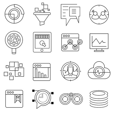 big data: data analytics icons Illustration