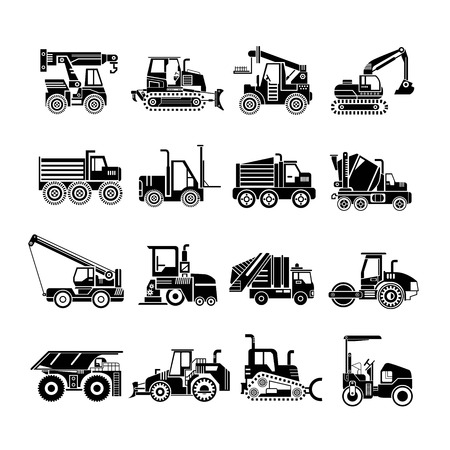 heavy construction machinery icons, truck icons