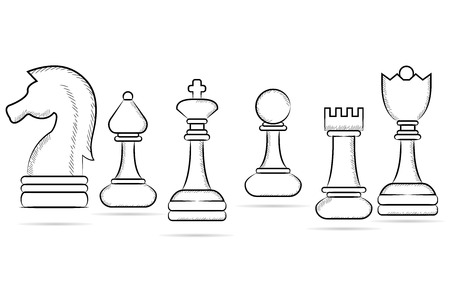 bishop chess piece: sketch of chess set Illustration