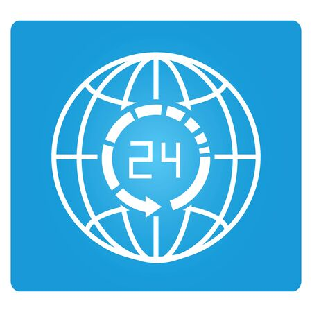 hrs: 24 hrs and globe symbol