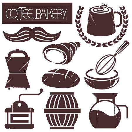 pail tank: coffee and bakery Illustration
