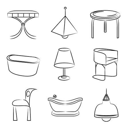 pendant lamp: furniture icons Illustration