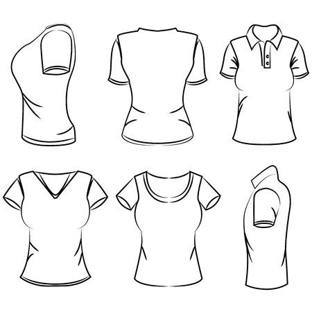 t shirt printing: sketch womens polo t-shirt Illustration