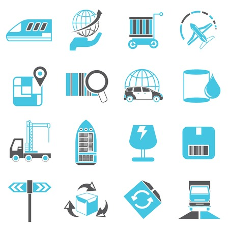 commercial recycling: transport, logistics shipping icons Illustration