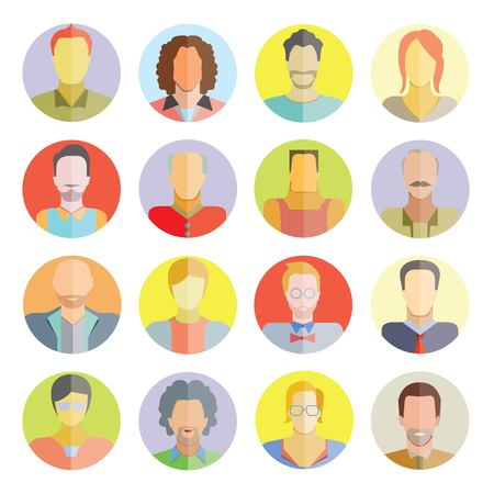 people flat icons, circle buttons Vector