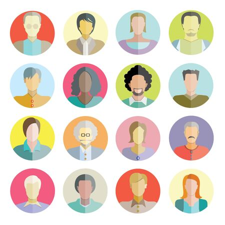 people flat icons, circle buttons