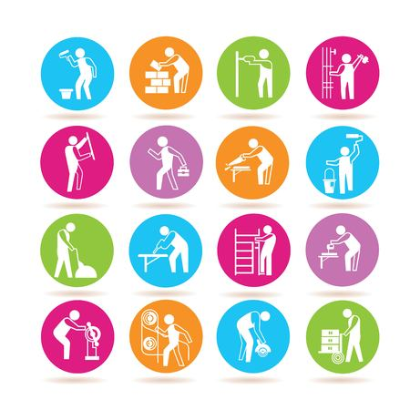 industrial work icons Illustration