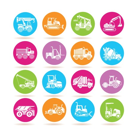 hydraulic: heavy construction machine icons Illustration