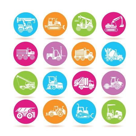 heavy construction: heavy construction machine icons Illustration