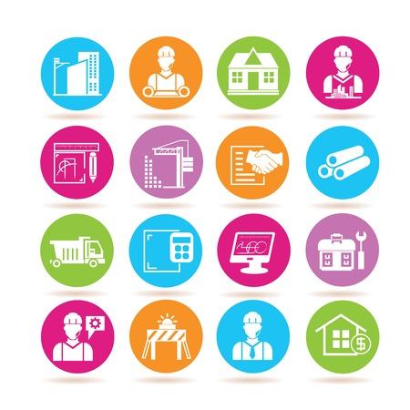 construction management: Icone di ingegneria, icone di costruzione Vettoriali