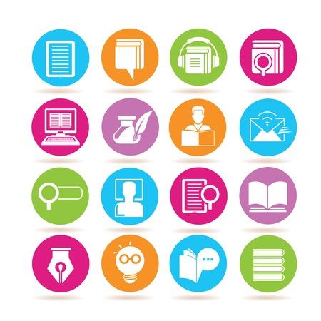 library: iconos de la educaci�n en l�nea