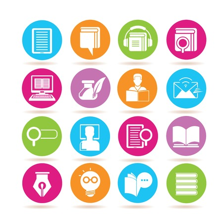 library: online education icons