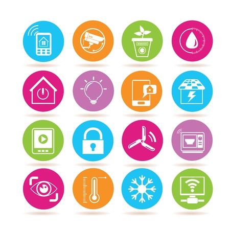 iconos del sistema de automatización del hogar Ilustración de vector