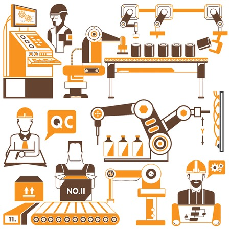 production line: manufacturing process and industrial robot