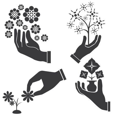 thanks giving: hand holding flowers Illustration