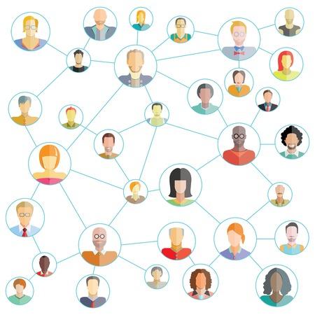 az emberek kapcsolatot, a szociális média hálózat Illusztráció