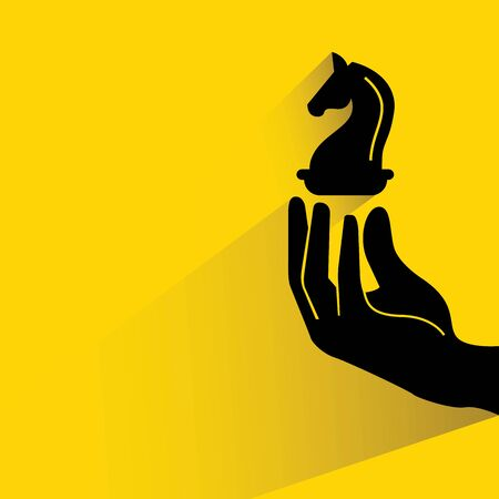 chess move: hand holding chess knight illustration
