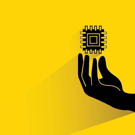 microchip: hand holding microchip