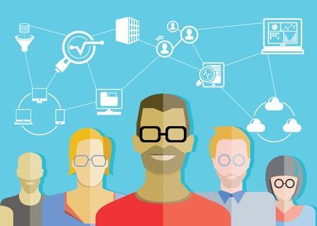 apoyo social: análisis de datos de equipo de apoyo, técnico de la red Vectores