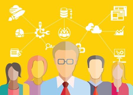 network technician team, data security concept Illustration