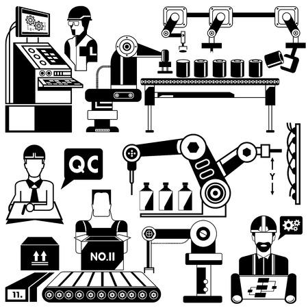 fabricage en productie lijn Stock Illustratie