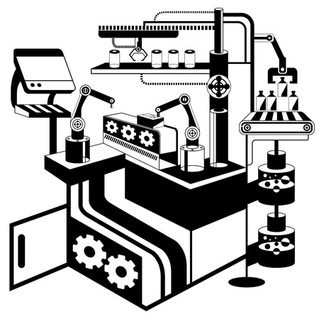 technological: robot in manufacturing process Illustration
