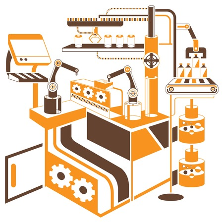 production line: robot in manufacturing process Illustration