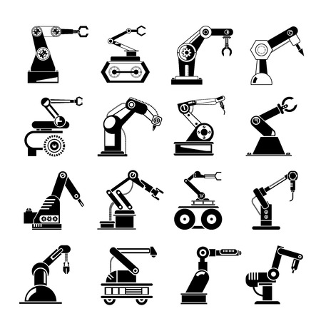industrial robot icons Vectores