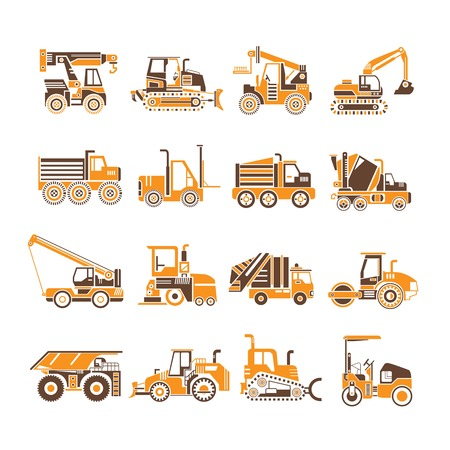 heavy construction: heavy truck, construction equipment icons Illustration