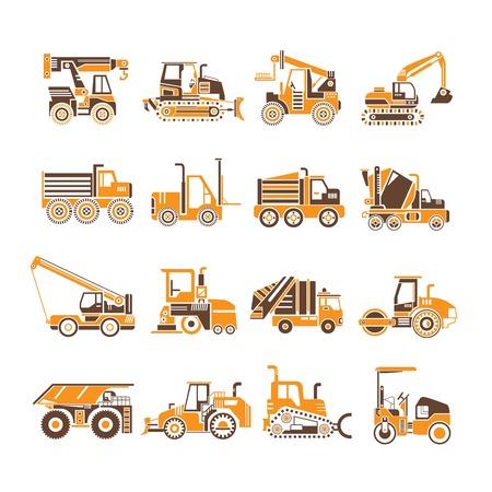 heavy construction: heavy truck, construction equipment icons Illustration