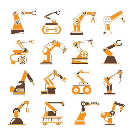 manufacturing: industrial robot icons Illustration