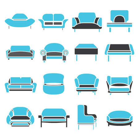 divan: sofa icons Illustration