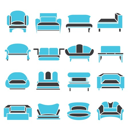 romance bed: sofa icons Illustration