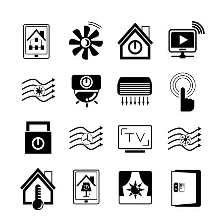 home button: smart house technology system icons Illustration
