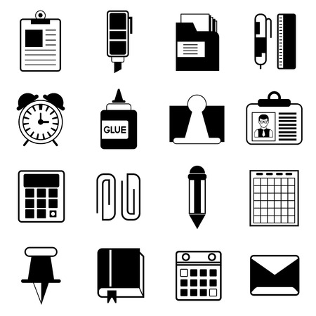 office supplies icons illustration  Ilustração