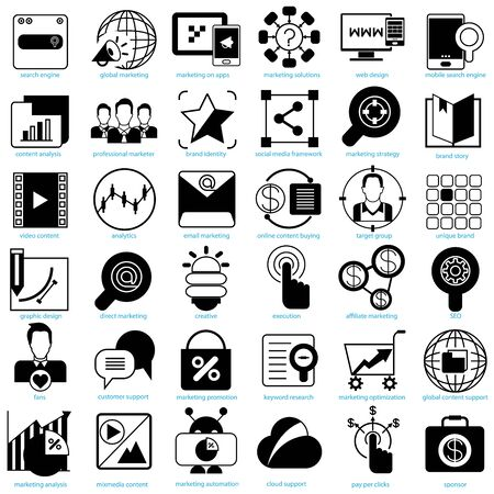 internet marketing solution icons
