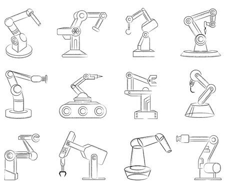 robotic: robotic hand icons illustration