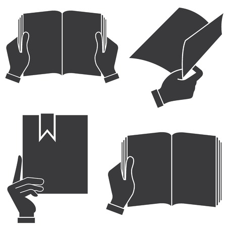 instruction sheet: hand holding book illustration  Illustration