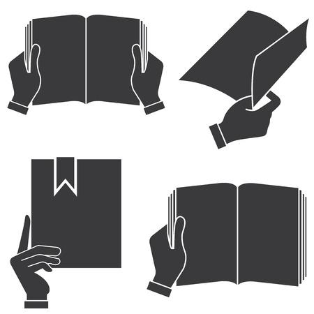 hand holding paper: hand holding book illustration  Illustration